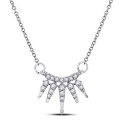 1/6 CTW Womens Round Diamond Fashion Necklace 10kt White Gold - REF-20R5X