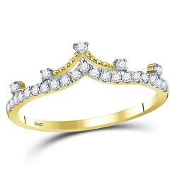 1/5 CTW Womens Round Diamond Crown Tiara Fashion Band Ring 10kt Yellow Gold - REF-21W2H