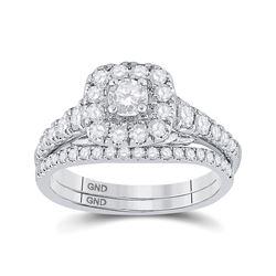 1 CTW Round Diamond Bridal Wedding Ring 14kt White Gold - REF-119N5A