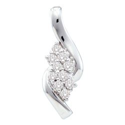 1/4 CTW Womens Round Diamond Fashion Cluster Pendant 14kt White Gold - REF-24X5T