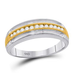 1/4 CTW Mens Round Diamond Wedding Anniversary Band Ring 10kt Two-tone White Gold - REF-39F5W