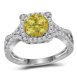 7/8 CTW Womens Round Yellow Diamond Cluster Ring 14kt White Gold - REF-85A8M