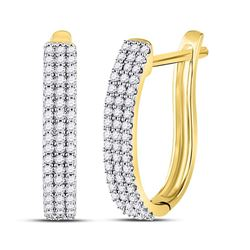 1/4 CTW Womens Round Diamond Triple Row Hoop Earrings 10kt Yellow Gold - REF-24A5M