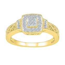 1/5 CTW Womens Round Diamond Square Cluster Ring 10kt Yellow Gold - REF-23X9T