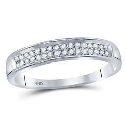 1/10 CTW Womens Round Diamond Double Row Band Ring 10kt White Gold - REF-13N5A