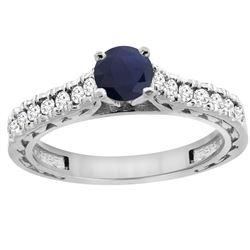 0.90 CTW Blue Sapphire & Diamond Ring 14K White Gold - REF-98F5N