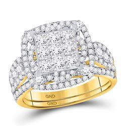 2 CTW Princess Diamond Bridal Wedding Ring 14kt Yellow Gold - REF-163Y5N