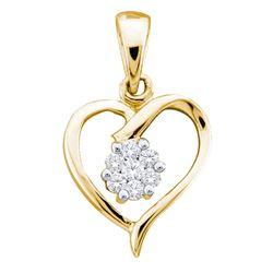 1/12 CTW Womens Round Diamond Flower Cluster Heart Pendant 10kt Yellow Gold - REF-10N9A