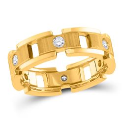 1/2 CTW Mens Round Diamond Link Chain Wedding Band Ring 14kt Yellow Gold - REF-122F6W
