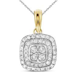 1/3 CTW Womens Round Diamond Cushion Cluster Pendant 14kt Yellow Gold - REF-34F3W