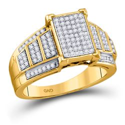 1/3 CTW Womens Round Diamond Rectangle Cluster Ring 10kt Yellow Gold - REF-45H2R