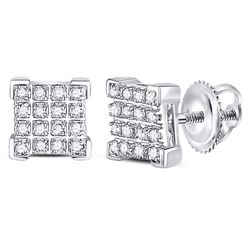 1/10 CTW Mens Round Diamond Square Cluster Earrings 10kt White Gold - REF-11Y6N