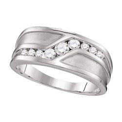 1/2 CTW Mens Round Diamond Wedding Band Ring 10kt White Gold - REF-56A6M