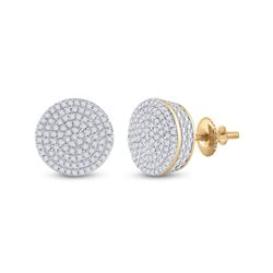 1/3 CTW Womens Round Diamond Circle Cluster Earrings 10kt Yellow Gold - REF-34V3Y