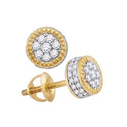 3/4 CTW Mens Round Diamond Fluted Flower Cluster Stud Earrings 10kt Yellow Gold - REF-47Y6N
