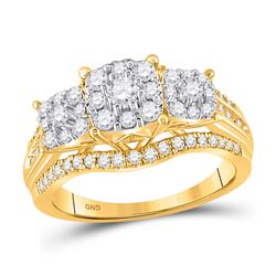1 CTW Womens Round Diamond Cluster 3-stone Ring 10kt Yellow Gold - REF-92V3Y