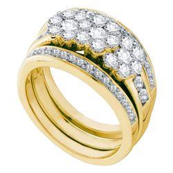 1 & 1/2 CTW Round Diamond Bridal Wedding Ring 14kt Yellow Gold - REF-166H9R