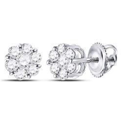 1/2 CTW Womens Round Diamond Flower Cluster Earrings 10kt White Gold - REF-34H3R