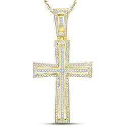 3/4 CTW Mens Round Diamond Cross Charm Pendant 10kt Yellow Gold - REF-109R2X