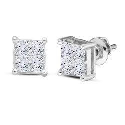 1/2 CTW Womens Princess Diamond Square Earrings 14kt White Gold - REF-44W4H
