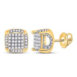 1/2 CTW Womens Round Diamond Square Earrings 10kt Yellow Gold - REF-24H5R
