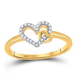 1/12 CTW Womens Round Diamond Heart Ring 10kt Yellow Gold - REF-17F7W