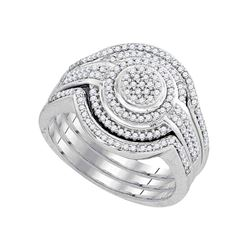 1/2 CTW Round Diamond Cluster Bridal Wedding Ring 10k White Gold - REF-54X5T