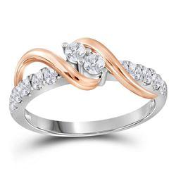 3/4 CTW Round Diamond 2-stone Bridal Wedding Engagement Ring 14kt White Gold - REF-83H7R