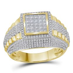 1 & 1/3 CTW Mens Round Diamond Square Cluster Ring 10kt Yellow Gold - REF-122W6H