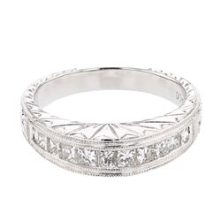 0.74 CTW Princess Diamond Band Ring 18K White Gold - REF-126Y6X