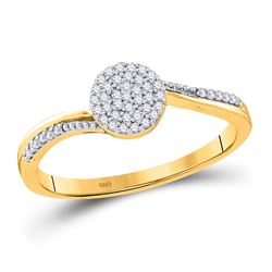 1/6 CTW Womens Round Diamond Cluster Ring 10kt Yellow Gold - REF-15T2V