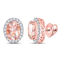 2 & 1/5 CTW Womens Oval Morganite Diamond Halo Earrings 10kt Rose Gold - REF-49A3M