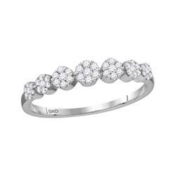 1/4 CTW Womens Round Diamond Flower Cluster Ring 10kt White Gold - REF-25H9R