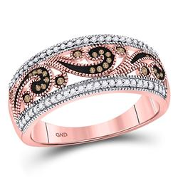 1/4 CTW Womens Round Red Color Enhanced Diamond Curl Band Ring 10kt Rose Gold - REF-27T3V