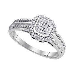 1/10 CTW Round Diamond Square Cluster Bridal Wedding Engagement Ring 10kt White Gold - REF-21W8H