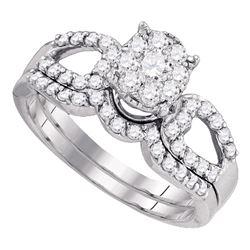 3/4 CTW Round Diamond Bridal Wedding Ring Band Set 10kt White Gold - REF-58V5Y