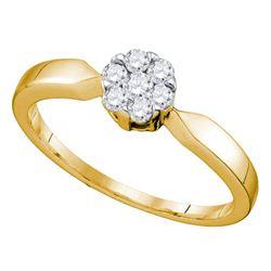 1/4 CTW Flower Cluster Diamond Bridal Wedding Engagement Ring 10k Yellow Gold - REF-22A5M