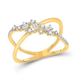 1/5 CTW Womens Baguette Diamond Scattered Open Fashion Ring 14kt Yellow Gold - REF-32W7H