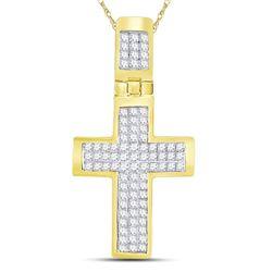 5/8 CTW Mens Princess Diamond Cross Charm Pendant 10kt Yellow Gold - REF-32T6V