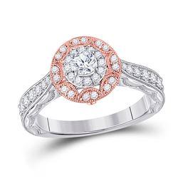 3/4 CTW Round Diamond Halo Bridal Wedding Engagement Ring 14kt Two-tone Gold - REF-97T5V