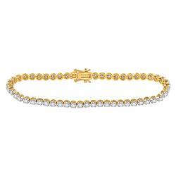 1 CTW Womens Round Diamond Studded Tennis Bracelet 14kt Yellow Gold - REF-109N2A