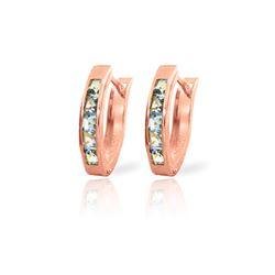 Genuine 0.85 ctw Aquamarine Earrings 14KT Rose Gold - REF-25P6H