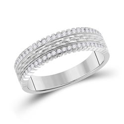 1/3 CTW Mens Round Diamond Wedding Brick Inlay Band Ring 14kt White Gold - REF-81T7V