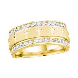 1/4 CTW Mens Round Diamond Wedding Cross Band Ring 14kt Yellow Gold - REF-92T6V