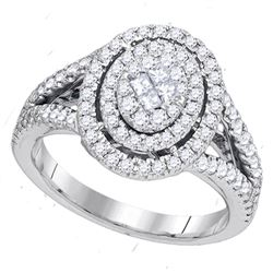 1 CTW Princess Diamond Oval Cluster Bridal Wedding Engagement Ring 14kt White Gold - REF-102V3Y