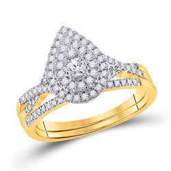 1/2 CTW Round Diamond Bridal Wedding Ring 10kt Yellow Gold - REF-68F2W