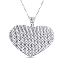 2 CTW Womens Round Diamond Charmed Heart Pendant 14kt White Gold - REF-150M2F