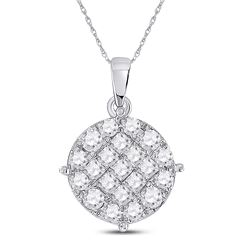 1 CTW Womens Princess Diamond Circle Cluster Pendant 14kt White Gold - REF-88N5A