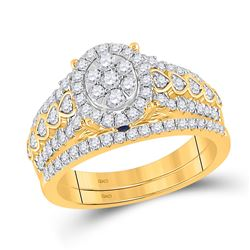 7/8 CTW Round Diamond Bridal Wedding Ring 14kt Yellow Gold - REF-102X3T