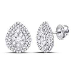 1 CTW Womens Round Diamond Cluster Teardrop Earrings 14kt White Gold - REF-88T5V